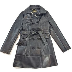 Vtg Guess Faux Leather Mid Length Jacket Size S
